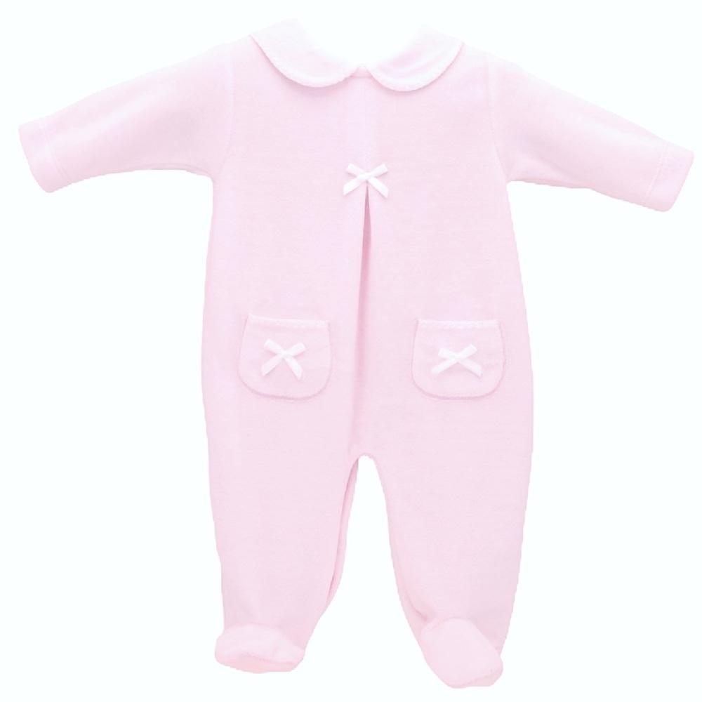 Celine Velour Babygrow - Pink