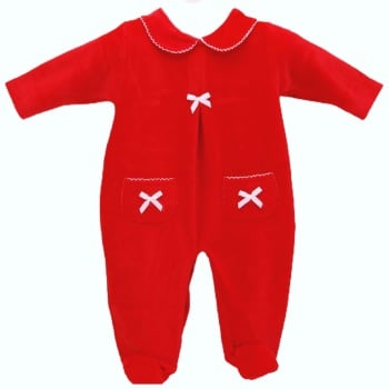Celine Velour Babygrow - Red