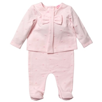 Mia Flocked Bow Top & Pants Set - Pink
