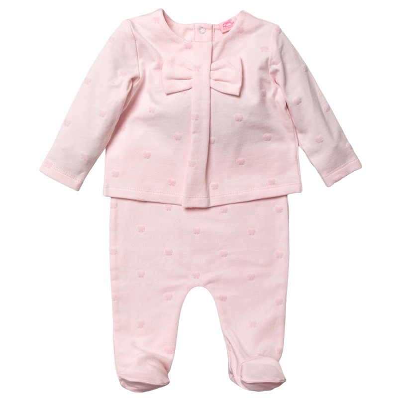 Mia Flocked Bow Top & Pants Set - Pink
