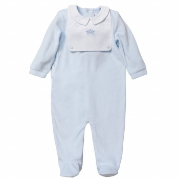 Little Prince Velour Onesie - Blue