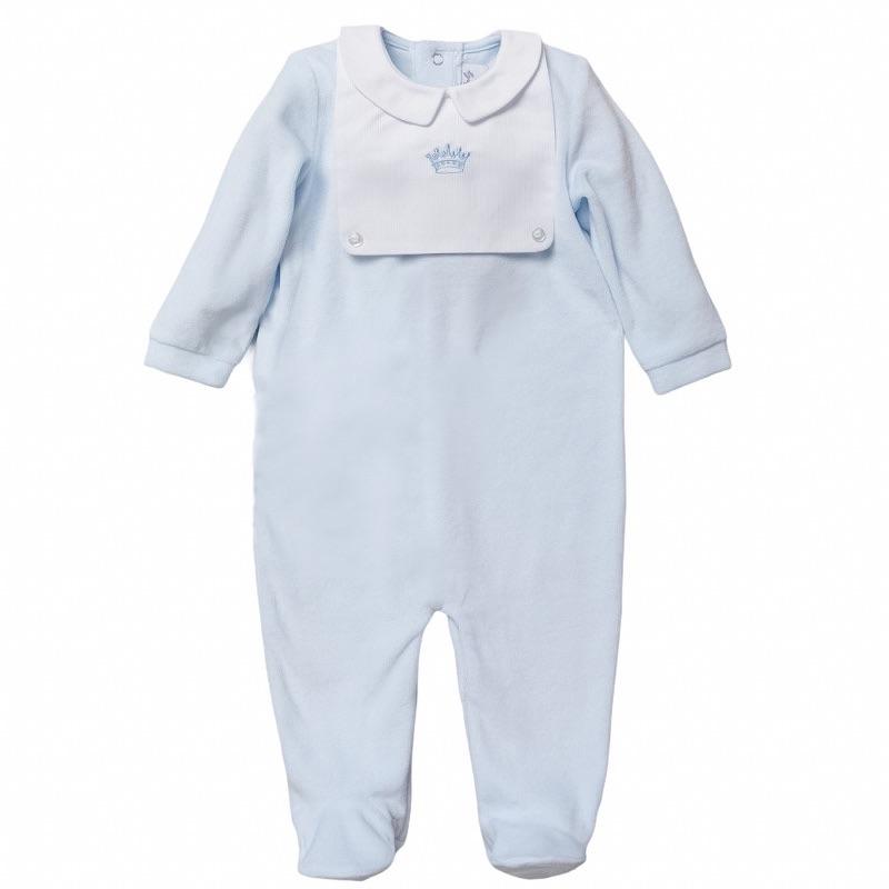 Little Prince Velour Onesie - Blue