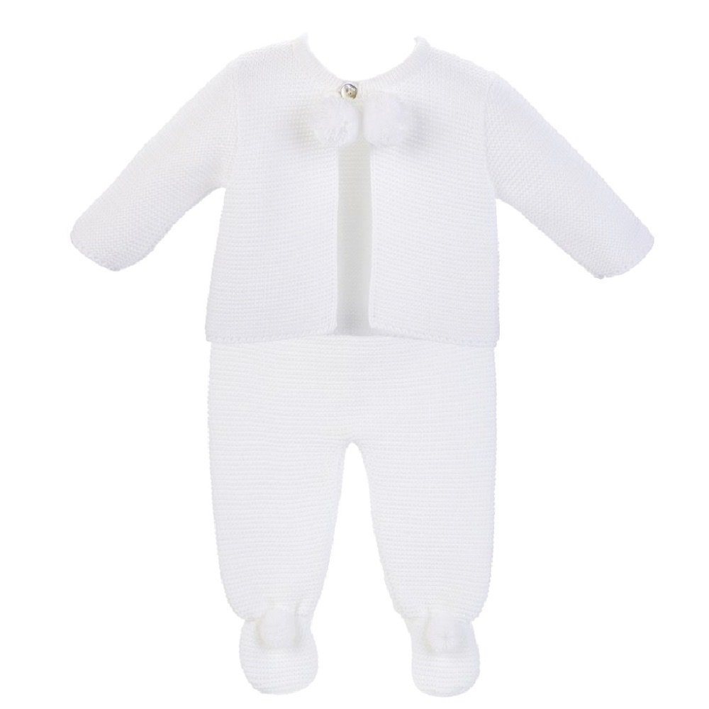 Harley Knitted Pom Set - White