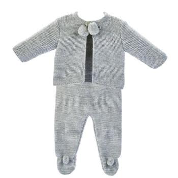 Harley Knitted Pom Set - Grey
