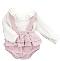 Babidu Soft Tweed Frill Set - Rose