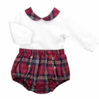 Babidu Red Tartan Collared Top & Pants
