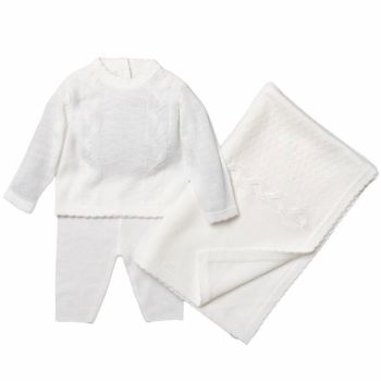 Avery Soft Cable Knit Set - White