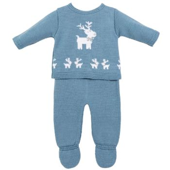 Little Reindeer Knitted Set - Blue
