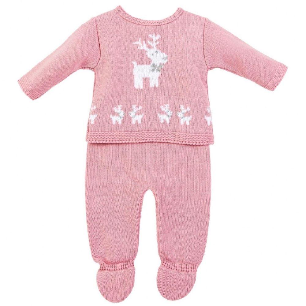 Little Reindeer Knitted Set - Rose