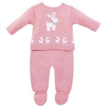 Little Reindeer Knitted Set - Rose