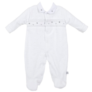 Little Star Jaquard Velour Onesie - White