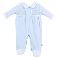 Louis Smocked Velour Onesie - Blue
