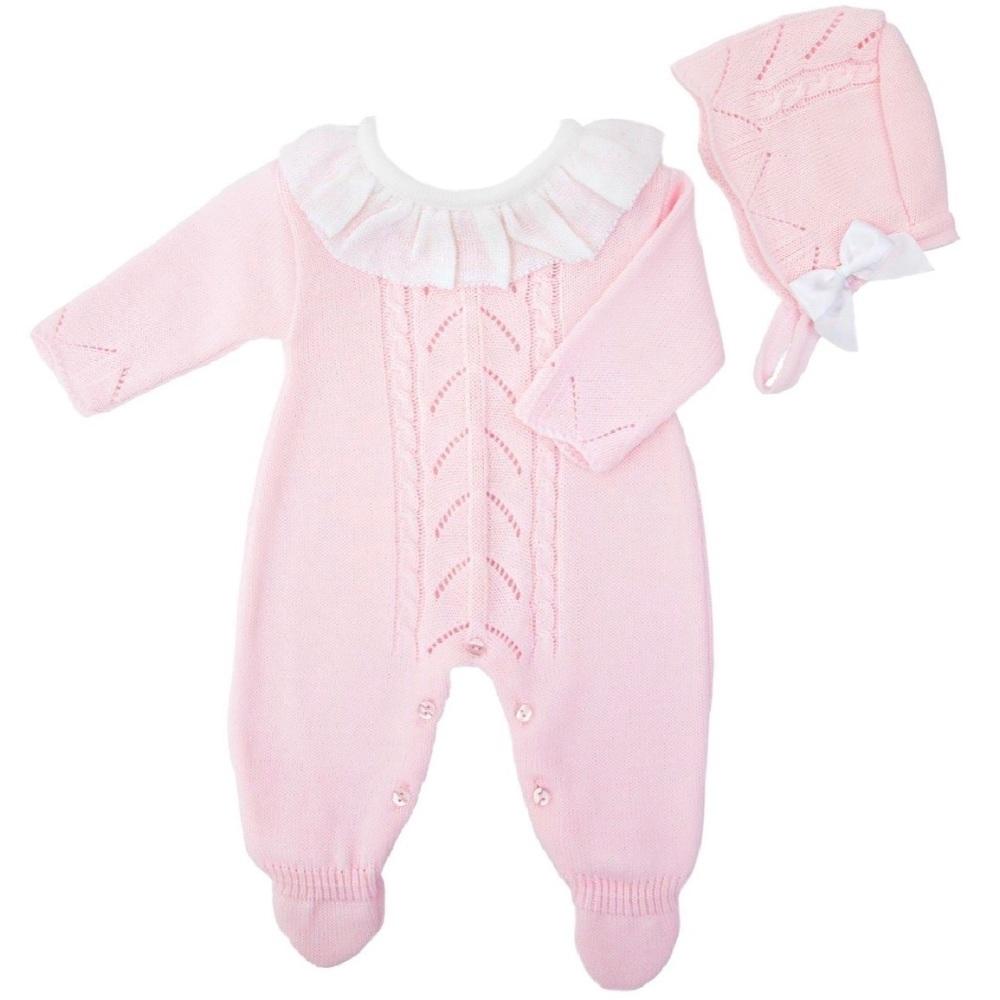 Ivy Knitted Onesie & Bonnet - Pink