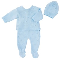 Harper Bobble Knit Set - Blue