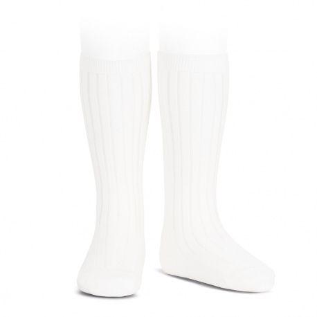 Condor Wide Ribbed Knee Socks - White