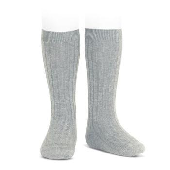 Condor Wide Ribbed Knee Socks - Aluminium