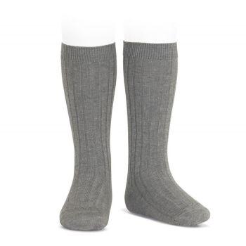 Condor Wide Ribbed Knee Socks - Light Grey