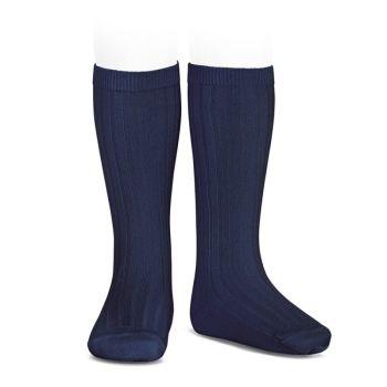 Condor Wide Ribbed Knee Socks - Navy