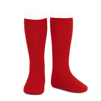 Condor Wide Ribbed Knee Socks - Red