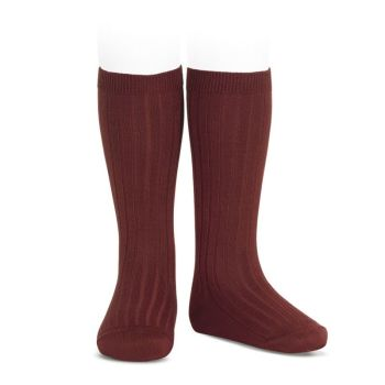 Condor Wide Ribbed Knee Socks - Garnet