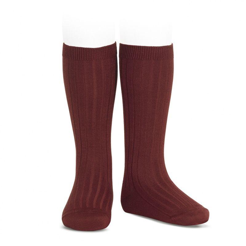 Condor Wide Ribbed Knee Socks - Garnet