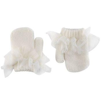 Condor Tulle Frill Mittens - Cream
