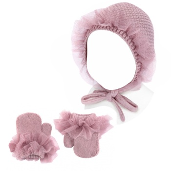 Condor Tulle Frill Bonnet & Mittens Set - Rose