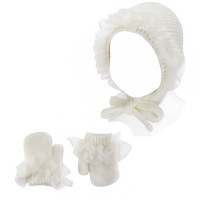 Condor Tulle Frill Bonnet & Mittens Set - Cream