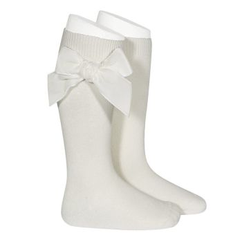 Knee High Socks With Velvet Bow - Ivory