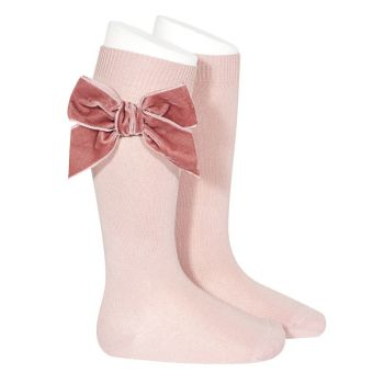 Knee High Socks With Velvet Bow - Rose