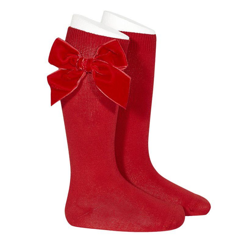 Condor Knee High Socks With Velvet Bow - Red
