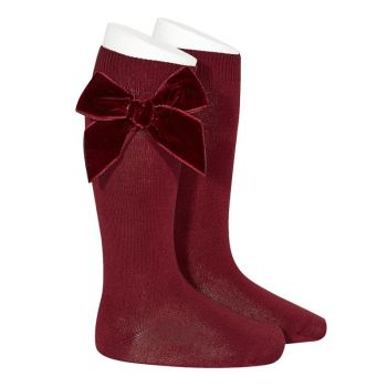 Knee High Socks With Velvet Bow - Garnet