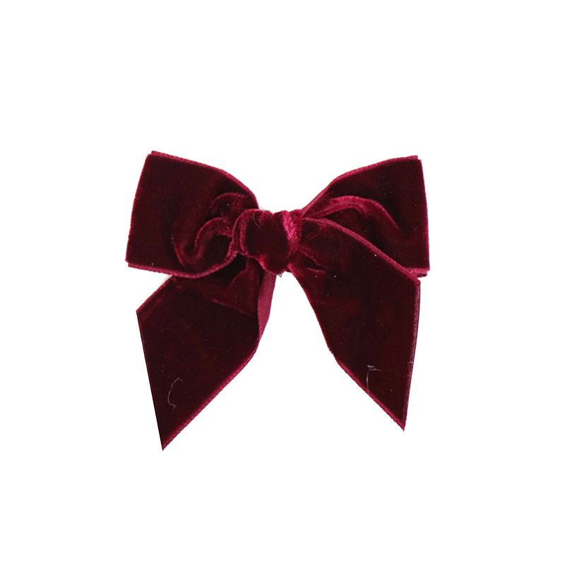 Condor Velvet Bow Clip - Garnet