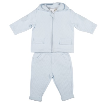 Mintini Zig Zag Quilted Hooded Tracksuit - Blue