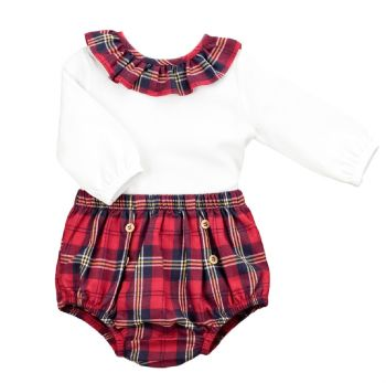 Babidu Red Tartan Frill Neck Top & Pants