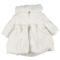 Mintini Quilted Peplum Winter Coat - Ivory