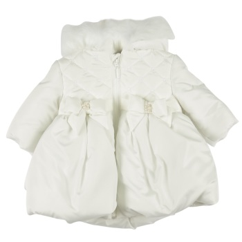 Mintini Quilted Peplum Winter Coat - Ivory
