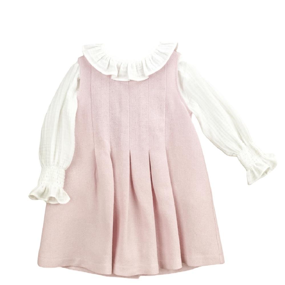 Babidu Pinafore Dress & Blouse - Pink