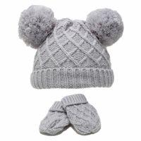 Diamond Knit Double Pom Hat & Mittens Set - Grey