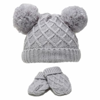 Diamond Knit Double Pom Hat & Mittens Set - Grey