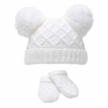 Diamond Knit Double Pom Hat & Mittens Set - White