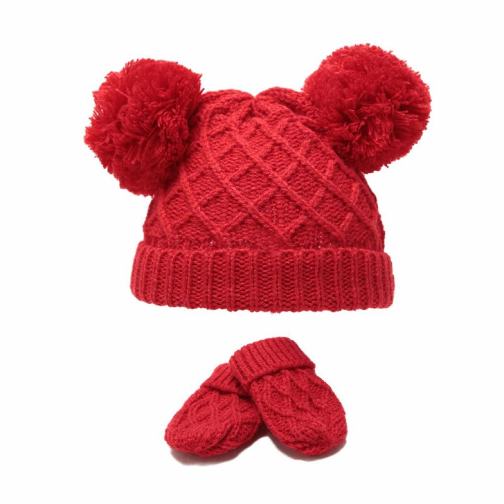 Diamond Knit Double Pom Hat & Mittens Set - Red