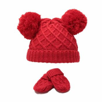 Diamond Knit Double Pom Hat & Mittens Set - Red