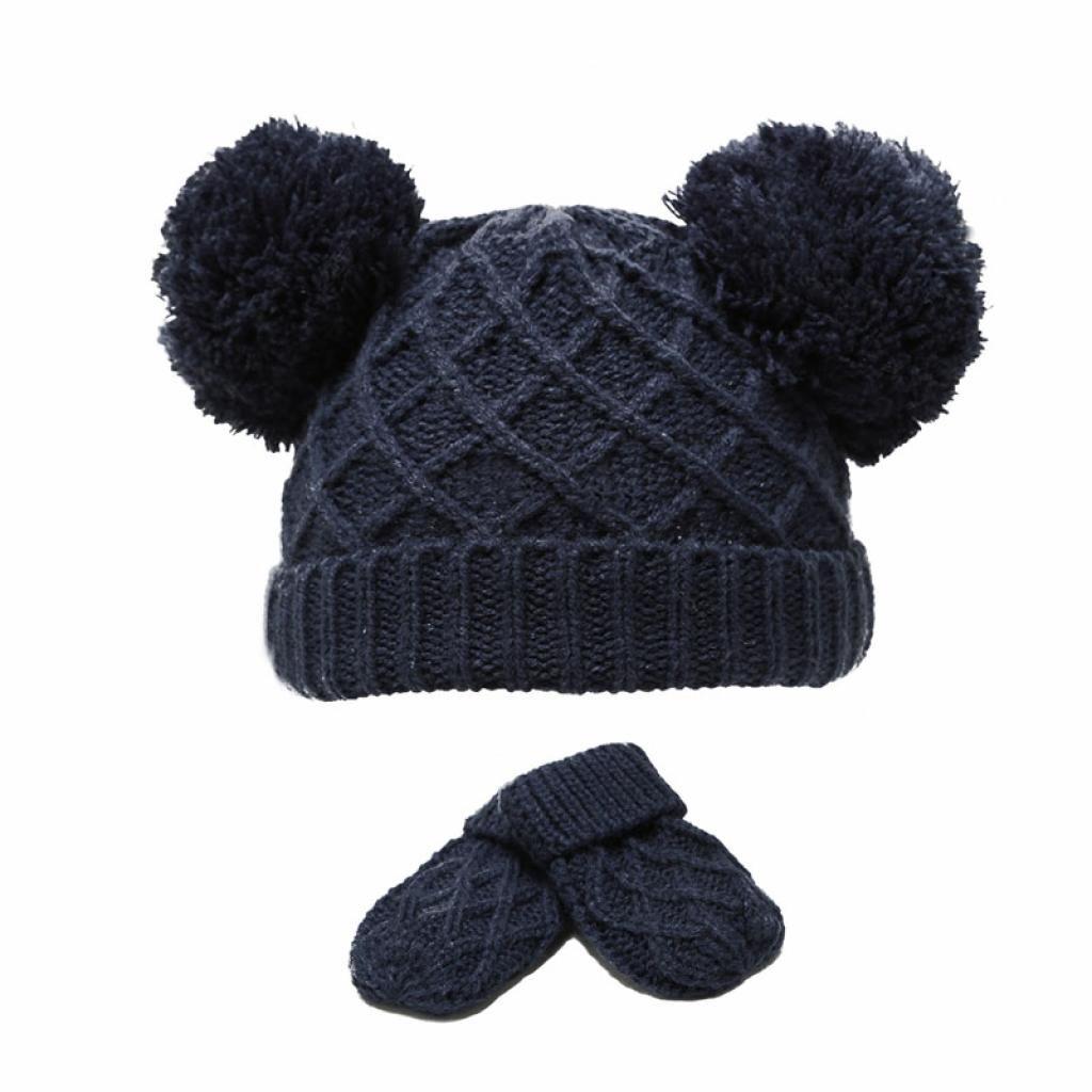 Diamond Knit Double Pom Hat & Mittens Set - Navy