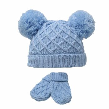 Diamond Knit Double Pom Hat & Mittens Set - Blue