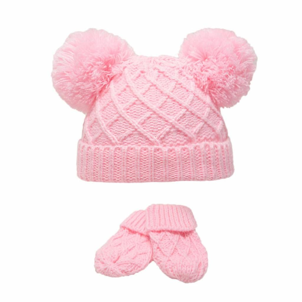 Diamond Knit Double Pom Hat & Mittens Set - Pink
