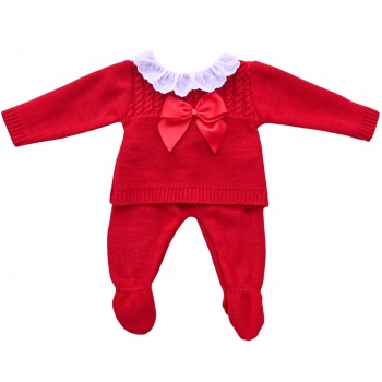 Emmie Knitted Jumper & Pants - Red