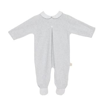 Baby Gi Velour Babygrow - Grey