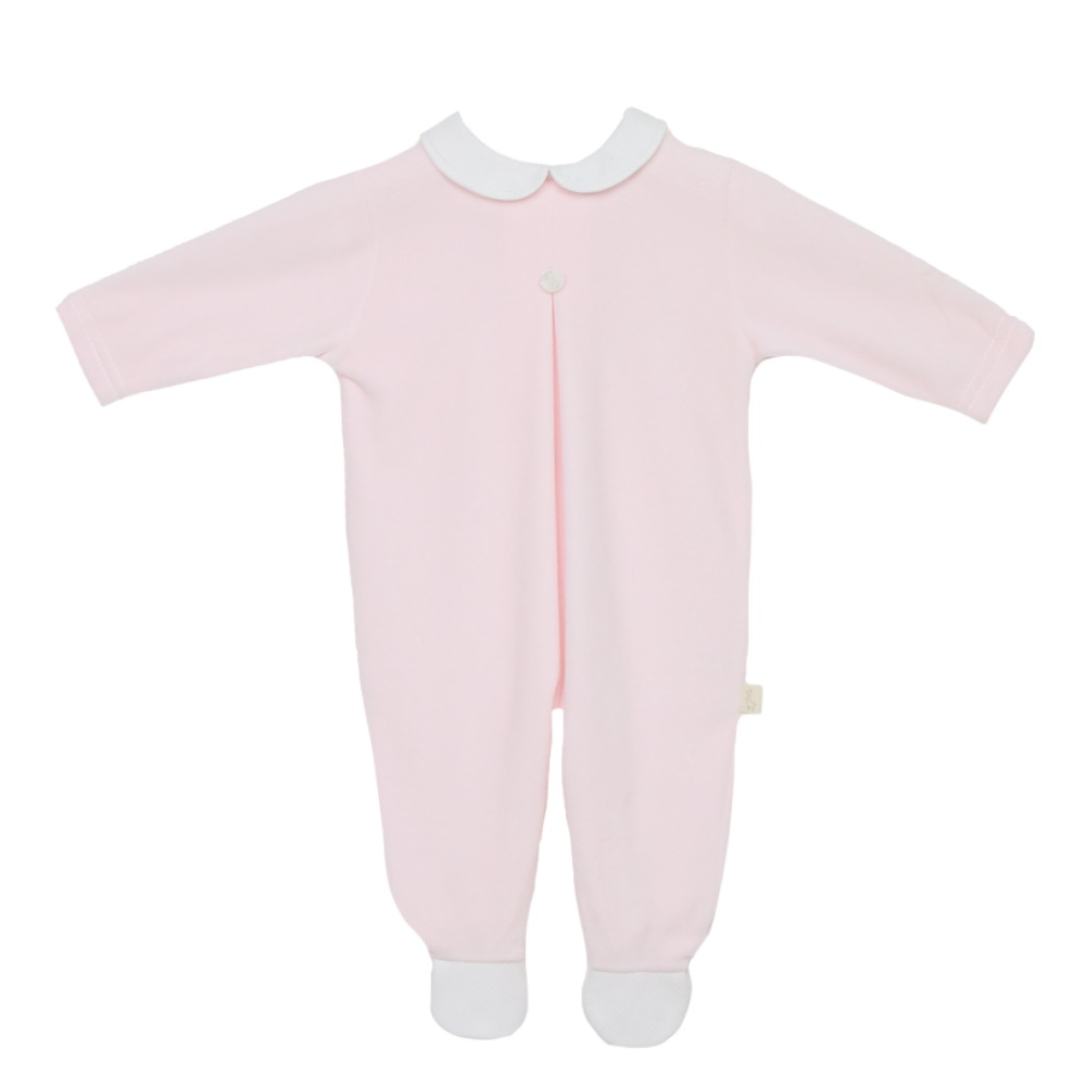 Baby Gi Velour Babygrow - Pink