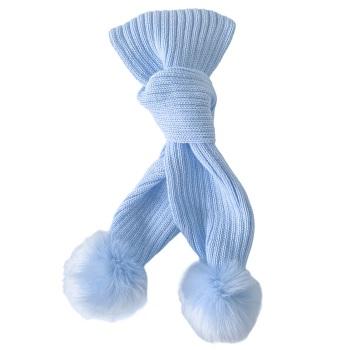 Faux Fur Pom Scarf - Blue